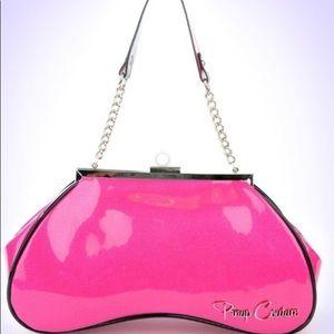 Pinup Couture pink sparkle Amoeba handbag